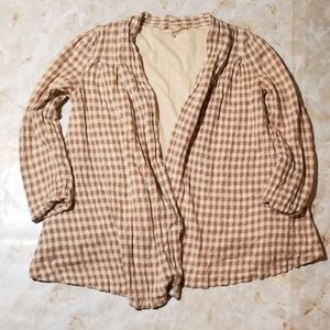 Anthropologie Knitted & Knotted Gingham Cardigan